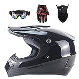 Lvguang Carretera Moto Casco Motocross Casco 4pcs Casco de Motocross para Hombre Mujer & Mascarilla Forrada de Motocicleta & Gafas de Moto & Guantes para Moto (Negro#9)