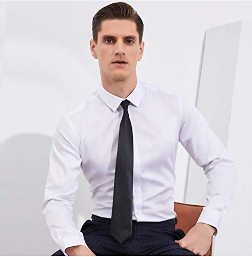Camisa Top 100% Algodón Social Formal De Manga Larga Oficina De Negocios Slim Fit Camisas De Vestir para Hombres Paolo Serum Marca Asiansize38 Blanco