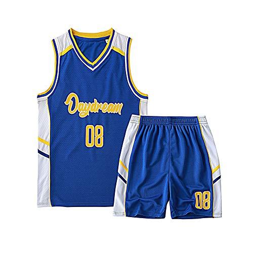 # 08, Kinderbasketballuniformen, Stickbasketballuniformen, bequem, atmungsaktiv, schnell trocknend, wiederholbares Waschen, geeignet, Kindersportbekleidung-S
