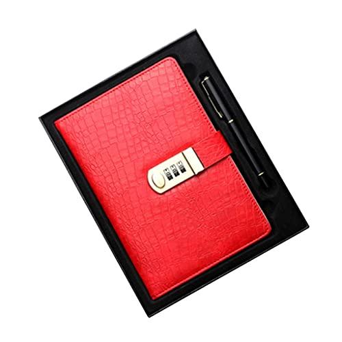 LWLEI Conjunto de Notebook Lockable Password Diario Patrón de cocodrilo PU PU por Personalizado por LOOKNOUBLE (138 Hojas / 276 páginas) (Color: Rojo) Song (Color : Red Set)