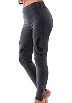 LAINAB Womens Stretch Slim Fit Casual Pull On Moto Leggings Dress Pants Black XL