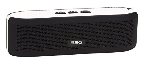 S2G FRESH Bluetooth Stereo Lautsprecher, FM Radio, USB, Micro SD, Spritzwassergeschützt, Freisprecheinrichtung, Kamera Auslöser, Karabiner, Griffig, Outdoor, Indoor - Weiß/Schwarz