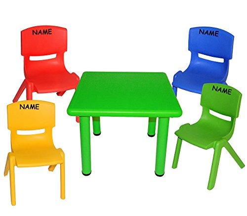 alles-meine.de GmbH 5 TLG. Set: Sitzgruppe - Tisch + 4 Kinderstühle - BUNT - incl. Namen - stapelbar / kippsicher / bis 100 kg belastbar - für INNEN & AUßEN - Plastik / Kunststof..