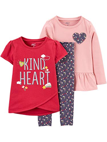 Simple Joys by Carter's Girls' Toddler 3-Piece Playwear Set, Heart/Floral, 3T