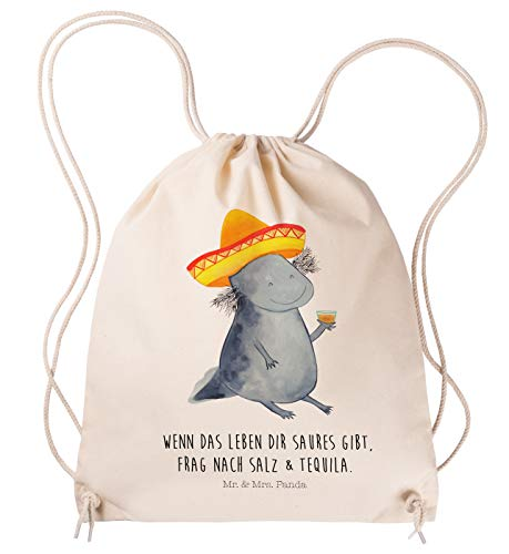 Mr. & Mrs. Panda Gymsack, Sporttasche, Sportbeutel Axolotl Tequila mit Spruch - Farbe Transparent