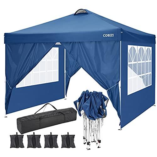 COBIZI Cenador Plegable 3x3m Portátil de Jardín, Carpa Resistente, Impermeable emergente para 6-8 Personas, con 4 Paredes Laterales con Bolsas de Peso de la Carpa para Exterior Fiestas Camping, Azul
