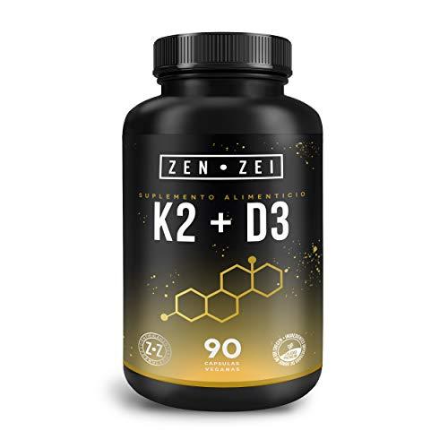 ZEN•ZEI | K2 + D3 | Suplemento Inteligente para Mantener Sano y Fuerte Corazón y Huesos — Formulado con: Vitamina K2 y Vitamina D3 — 90 Cápsulas Veganas | Calidad Premium