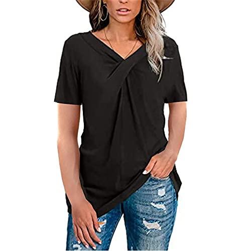 Mayntop Camiseta para mujer con cuello en V y nudo arrugado, color liso, bloque de manga corta y manga larga