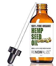 Renewalize Certified Organic Hemp Seed Cleansing Oil - Face Cleanser and Moisturizer.  100% Pure Cold Pressed and Unrefined.   Best Daily, Night time, Facial Regimen for Acne Pimple Prone Skin.   4oz bottle with eyedropper.