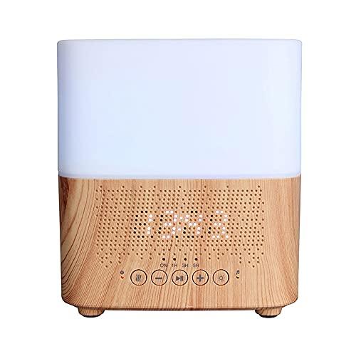 Difusor de aceite esencial de aroma Bluetooth inteligente Fabricante de niebla ultrasónica con altavoz Pantalla de tiempo Reloj despertador Humidificador de aire para el hogar(Veta de madera clara)