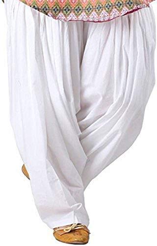 Taj Linens Patiala Salwar, Harem Pants, Yoga Pilates Pants 100% Cotton Free Style (White)