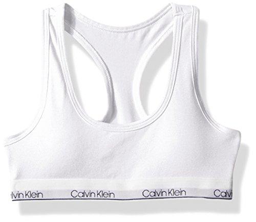 Calvin Klein - Brasier para niña con Logotipo Moderno de algodón Moldeado, Blanco Clásico, L (10/12)