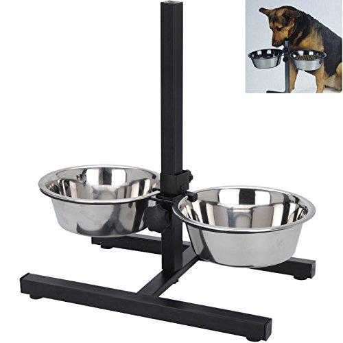 Smartweb Futterstation Hund inkl. 2 x 1,5 Liter Näpfen Hundenapf Fressnapf Höhenverstelbar Futternapf Wassernapf