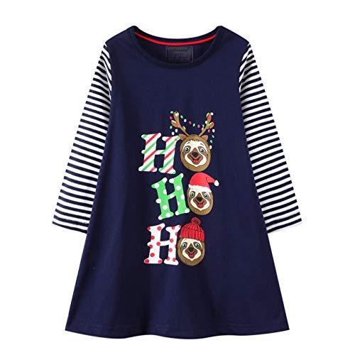 HILEELANG Toddler Girl Christmas Dress Long Sleeve Stripe Cotton Casual Santa Claus Tunic Shirt Jersey Play Dresses 4T
