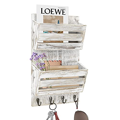 Rustic Mail Organizer Wall Mounted, Wood Mail Holder with 4 Key Hooks, 2-Slot Mail Organizer and Key Holder for Wall, Entryway Wall Organizer Key Hanger for Letter, Magazines, Keys, Leashes