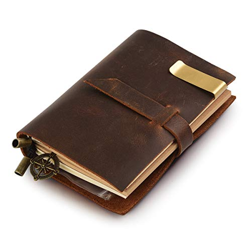 Classic Genuine Leather Notebook – 5.3' × 4' Refillable Pages Leather Journal – 100% Handmade & Personalized - Vintage Diary - Daily Use & Traveler's Notebook - Retro Journal Bound Notebook (Brown)