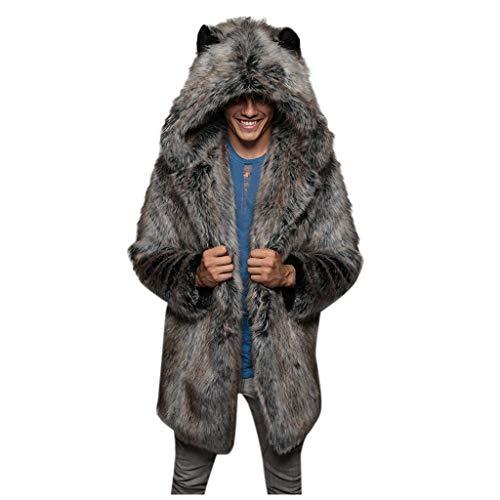 Daysing Herren Pelzmantel Winter Parka mit Fell-Imitat Jacke Mantel Kapuzenjacke Fashion Winterjacke Übergangsjacke Strickjacke