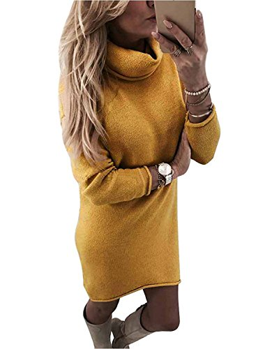 Minetom Damen Pullover Kleider Strickkleid Sweater Winterkleider Kleid Sweatkleid Strickkleider Langarm Mode Kausal Stricksweat Strickpullover...