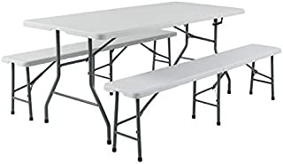 Best Choice Products 3pc Portable 6' Folding Table and Bench Set Combo Resin