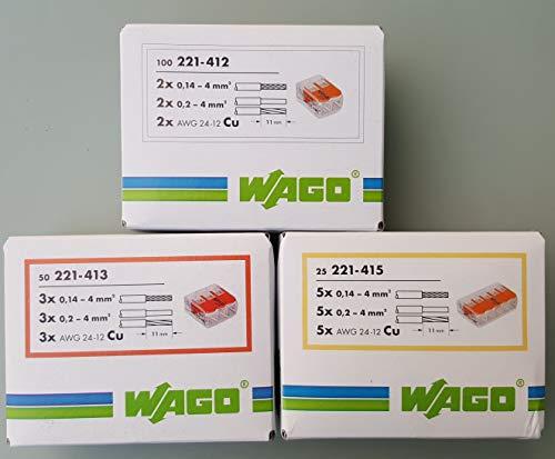 Wago 221 Klemmen SET 50x 221-412, 221-413, 221-415 | Kabel Verbinder in der wiederverschließbaren Box - Original WAGO