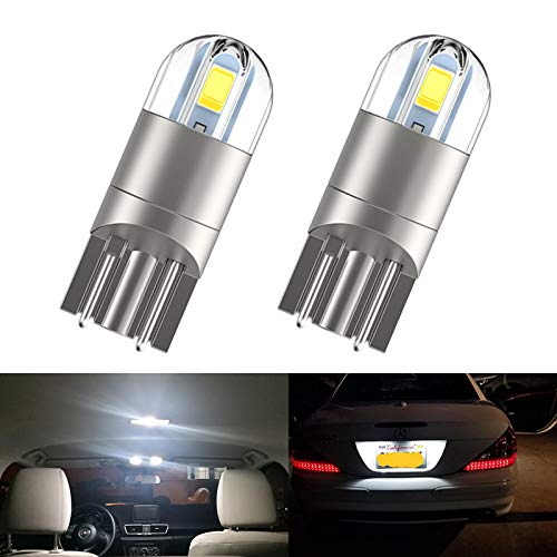 194 LED Interior Bulbs T10 LED Car Bulbs, 168 Bulb,Bright Upgrade 3030 Chips 175 2825 W5W LED Car Bulbs for Car Interior Dome Map Door Courtesy License Plate Lights, 6000K Xenon White Pack of 2