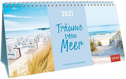 Träume vom Meer 2021: 3-teiliger Tischkalender mit Monatskalendarium