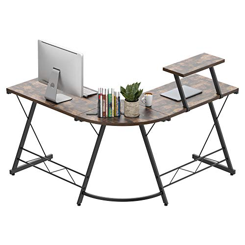 Amyove L-Shaped Computer Desk, Home Office Desk with Monitor Stand,Corner Desk for Home, Computer...