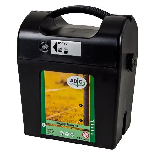 ADIC Appareil de clôture électrique 12 V/9 V - Batterie Power 17 - Pour clôture électrique, clôture électrique - Idéal pour protéger les chevaux, les bovins, les cochons, les animaux domestiques