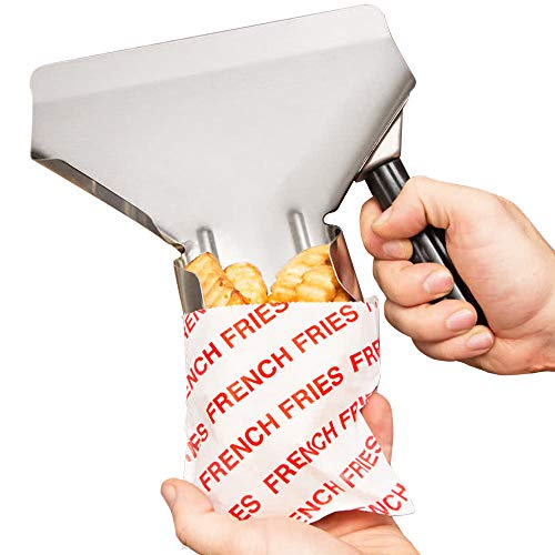 Carnival King French Fry Bags (500 Pieces) Made in USA - Stainless Steel French Fry Scoop - French Fries Supplies Bundle - French Fry Scooper, Fry Bags, Complimentary Coasters, Ebook
