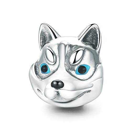 Diy Regalo 100% Plata De Ley 925 Cabeza De Perro Lindo Husky Poodle Animal Charm Beads Fit Charm...