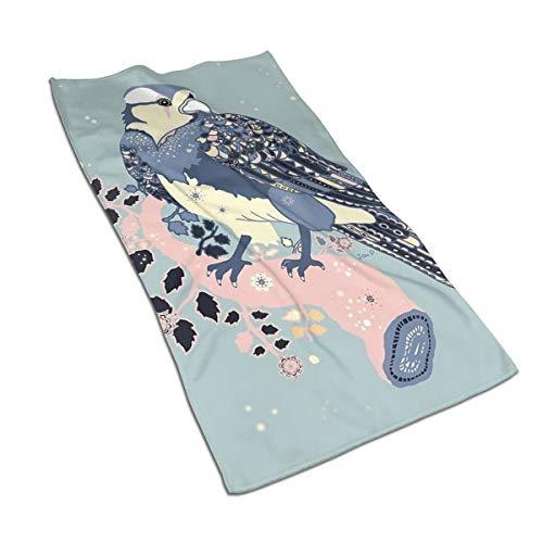 Genertic 27,5 x 15,7 in Asciugamano con Uccellino in Piedi sul Ramo Rosa Morbido Super Assorbente, Morbido Asciugamano in Cotone Personalizzato Viso Q