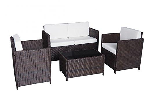 Jet-Line Cannes II Tuinmeubelen Lounge Tuinmeubelset, bruin rotan, lounge, polyrotan, tuingereedschap, terras, balkonmeubel, sofafauteuil, tafel van echt polyrotan