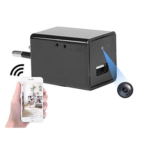 Mini cámara espía WiFi Enchufe Full HD 1080P Cargador USB Cámara para vigilancia de Seguridad en el hogar con Vista remota/detección de Movimiento/grabación en Bucle Plug-and-Play