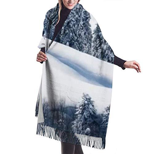 Nifdhkw Temporadas Nieve Árboles Bosques Cubierta de chal de cachemira de imitación-bufanda suave gruesa extra grande