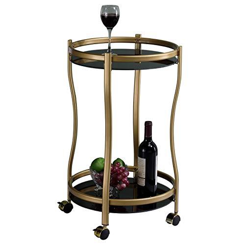 IDIMEX Chariot de Service Vega Table d'appoint Ronde sur roulettes Chariot à thé et Boisson en métal doré, avec 2 étagères en Verre trempé Noir