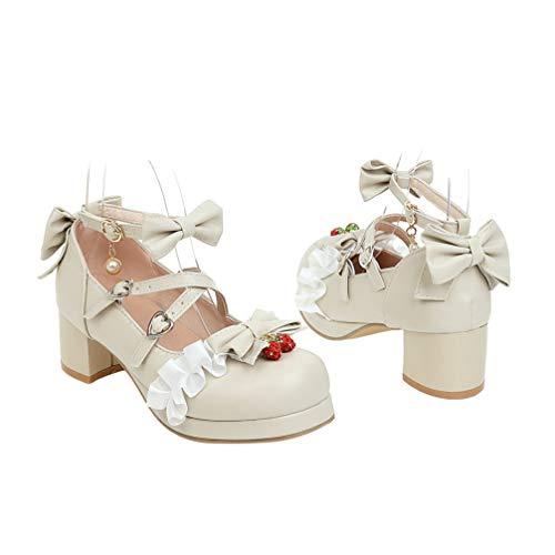 Generic Frauen Chunky Mary Janes Block Lolita Ankle Strap Schuh Plattform Runde Kappe Lolita Schuhe Mid Ferse Japanischen Süßen Schuhe (Beige 38)