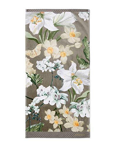 ESSENZA Toalla Rosalee Flores de algodón orgánico (GOTS), gris, 55 x 100 cm