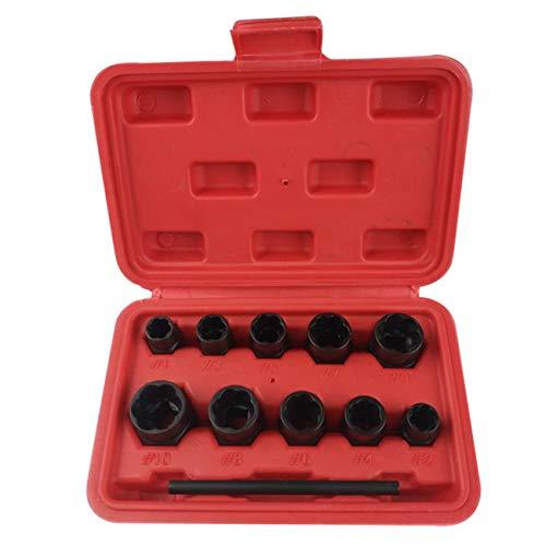 Ashley GAO Juego de 11 extractor de tornillos de tuerca, tornillos Fastners eliminados herramienta de roscado herramientas manuales kit de herramientas de extracción de taladros