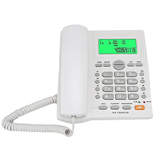 Salaty Teléfono residencial, teléfono con función de Silencio para Oficina(White, 10)