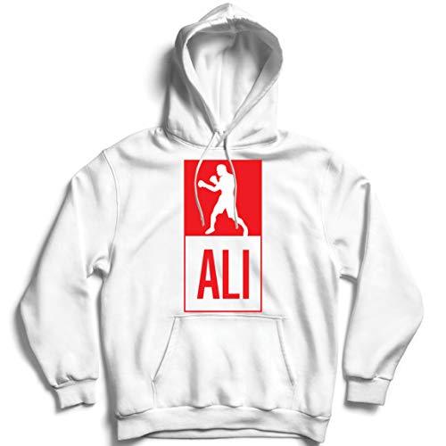 Sweatshirt à Capuche Manches Longues Boxe - dans Le Style de Combat pour la Formation, Les Sports, l'exercice, la Course, Les vêtements de Fitness (XXX-Large Blanc Multicolore)