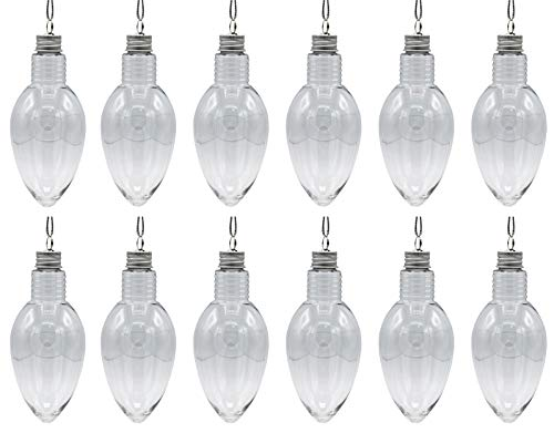 12 Pack - 5.5 Inch Long Christmas Light Bulb Ornament, Clear Plastic Fillable DIY Light Bulb w/Screw Caps -Great for DIY Crafts, Candy
