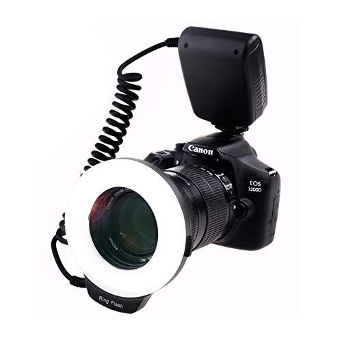 Ring Flash, 18 Macro LED Anello Flash RF-600D【3 Volte Luminosità di 48pcs LED Anello Flash】 include Anello di Adattatore e Flash Diffusore per Canon,