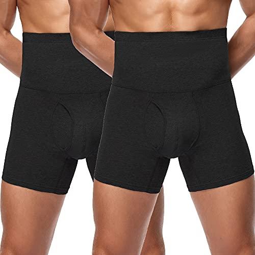 Joweechy Calzoncillos Hombre Cintura Alta Braguita Moldeadora Bóxer Ropa Interior de Deporte Faja Reductora Fajas Pantalones para Hombre Adelgazante Abdomen Shapewear B*2 4XL