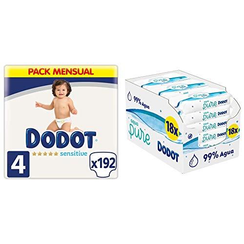 DODOT Pañales Bebé Sensitive Talla 4 (9-14 kg), 192 Pañales + Toallitas Aqua Pure, 99% Agua, 18 Paquetes (9x48), Máxima Protección de la Piel