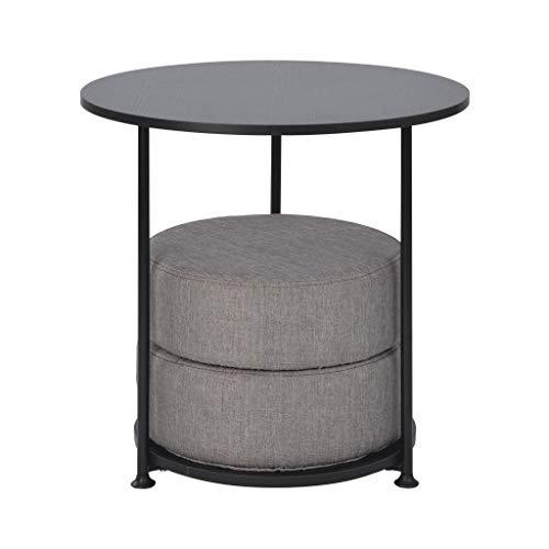 noyydh Couchtisch Mobiles modernes Sofa Side Einfacher runder Multifunktionstisch mit Sofakissen (Color : Black)