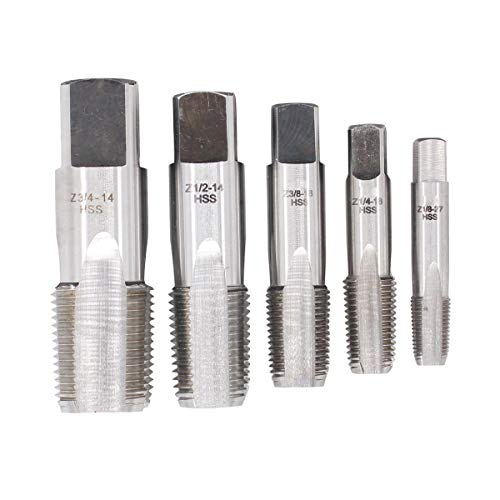 XtremeAmazing Set of 5 HSS NPT Pipe Tap Set 1/8, 1/4, 3/8, 1/2 and 3/4 Inch