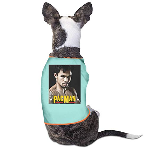 Jiaojiaozhe Manny Pacquiao Pac Man Boksen Legende Huisdier Service Huisdier Kleding Grappige Hond Kat Kostuum Tshirt Zwart, S, Blauw