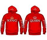 Pareja de moda rey y reina a juego sudadera con capucha suéter y suya sudadera