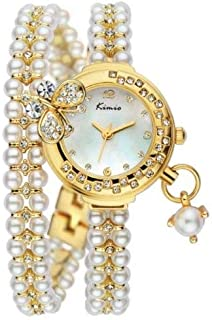 Kimio Girls White Dial Pearl Bracelet Watch - KW505S-GY01