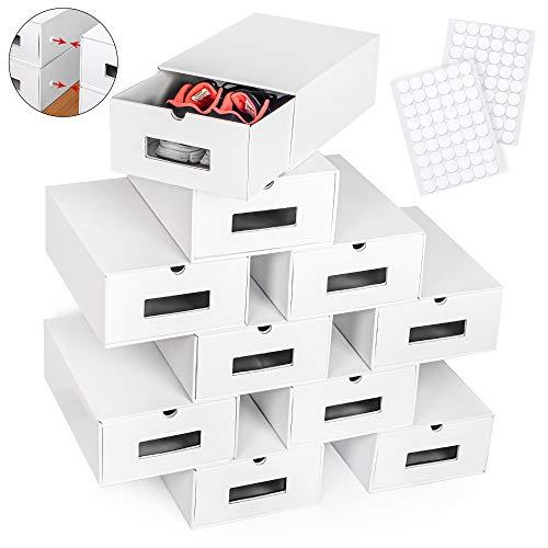 boxelite 10er Weiß Set Aufbewahrungsbox Schuhkarton mit Sichtfenster Stapelbar Spielzeug-Box Aufbewahrung Organizer Schuhschachtel aus Kraftpapier Pappe Schuhbox Ordnungssystem Schuhregal